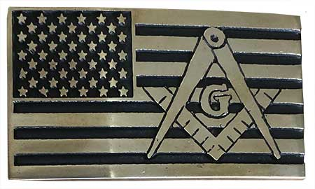 freemason american flag belt buckle