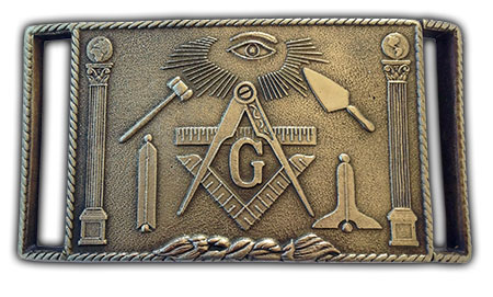 brass master mason belt buckle