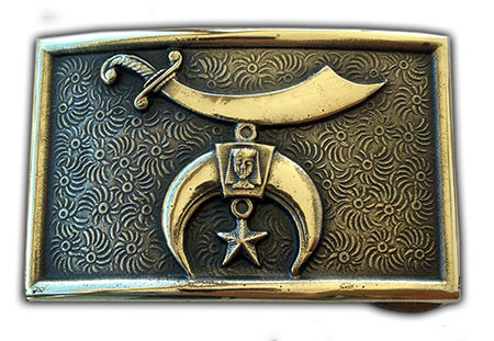 shriner freemason belt buckle